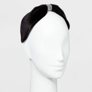 Women's Wide Velvet Knot Front w/Crystals Headband